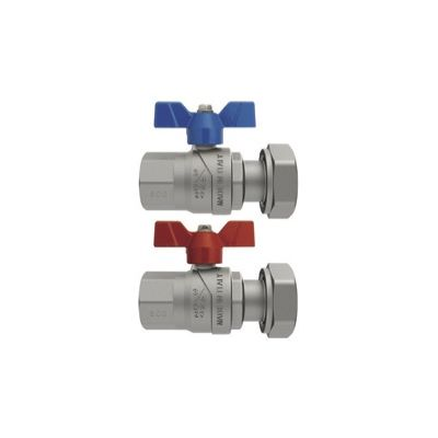 "¾"" F-BSP x 1"" F Union Emmeti Progress Straight Ball Valves Female Revolving Nut with Butterfly Handle"