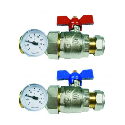 "Emmeti Straight Progress Ball Valves with in line temperature gauge 22mm x 1""MU"