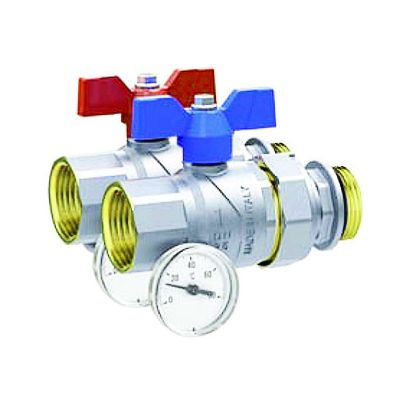 Emmeti Progress Ball Valves with offset temperature gauge, Female to Male Union