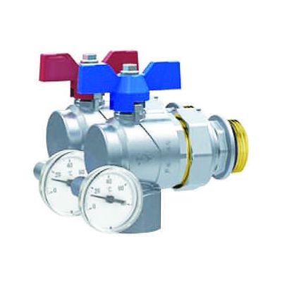 Emmeti Right Angle Progress Ball Valves with offset temperature gauge, Female to Male Union 1""