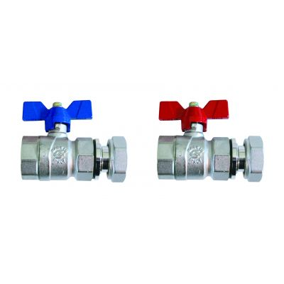 Emmeti Progress Straight Ball Valves Female Revolving Nut with Butterfly Handle