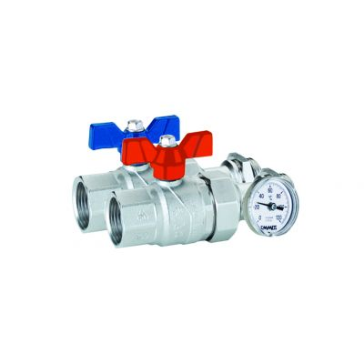 "Emmeti Straight Perfecta Ball Valves with inline temperature gauge 1"" F-MU"