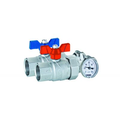 Emmeti Progress Ball Valves with inline temperature gauge, Female to Male Union 1¼""