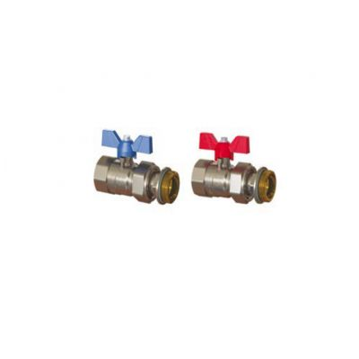 "Emmeti Pair of Progress Valves Male - 1"" M x FMU with Butterfly Handle"